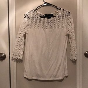 White lace shirt with black bow!